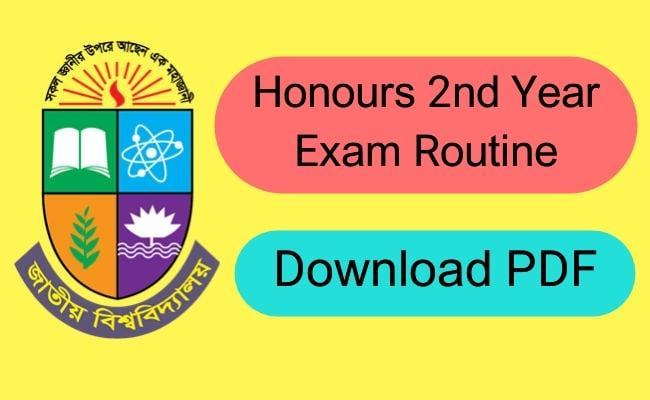 Honours 2nd Year Exam Routine 2021