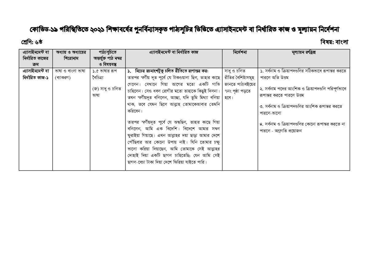 Assignment-Syllabus bangla