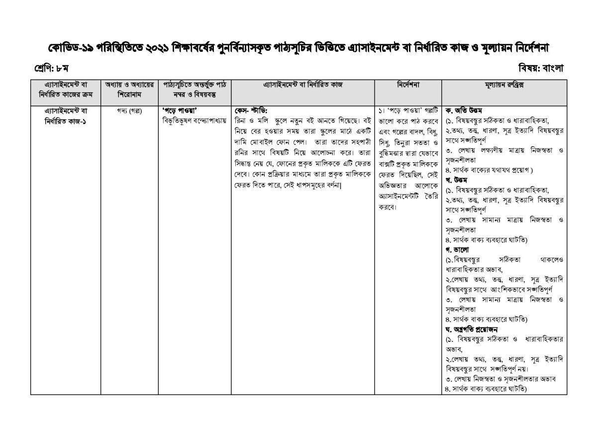 class 8 bangla