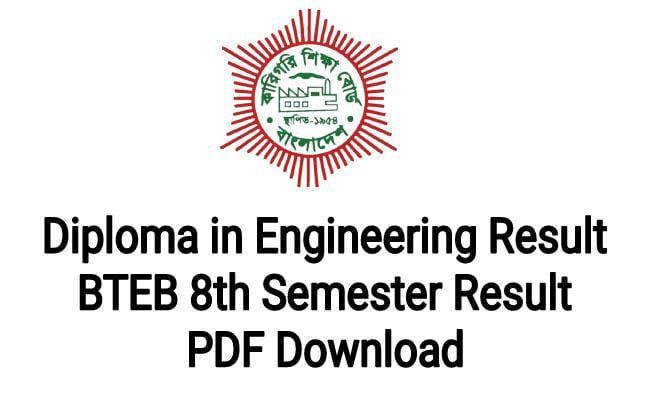 BTEB 8th Semester Result 2021 ( Diploma in Engineering Result Download)